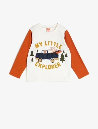 Koton Kids İşlemeli T-Shirt Ekru